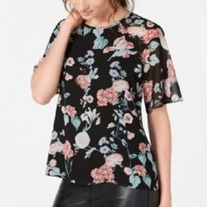 New Vince Camuto Floral Print Chiffon Top Shirt